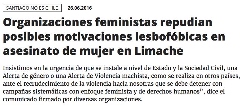 Comunicado Ante Asesinato Lesbofóbico En Limache, Valparaíso