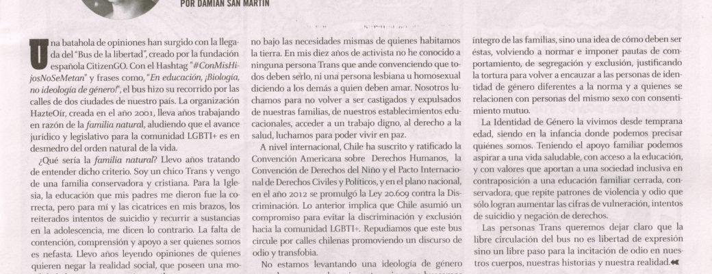 """[Opinión] """"El Bus De La Transfobia"""" The Clinic Impreso"""