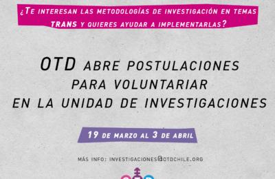 Convocatoria Unidad Investigaciones OTD Chile.