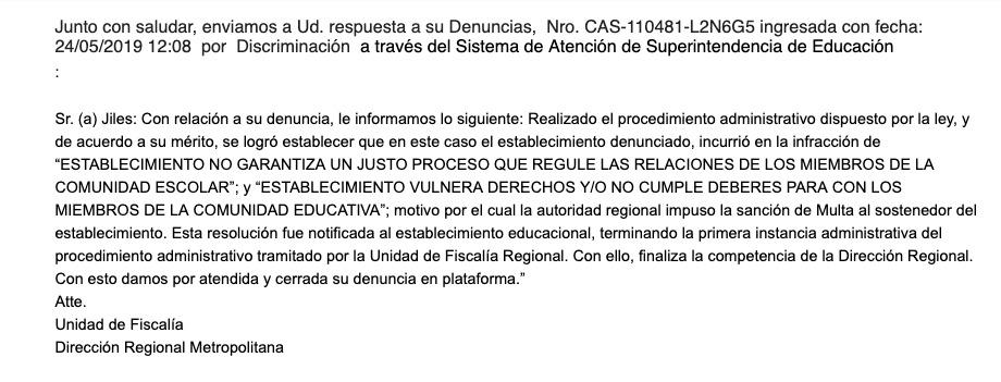 Imagen del correo enviado por la la Superintendencia de Educación, donde anuncian las sanciones al Liceo.