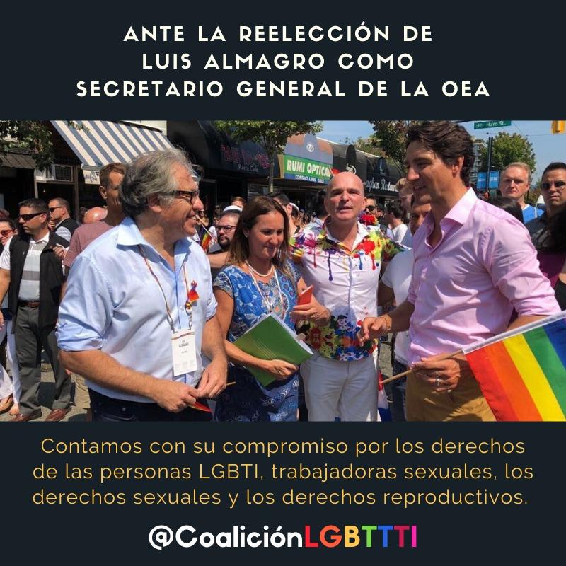La Coalición LGBTTTI insta a Luis Almagro secretario general de la OEA a cumplir con sus compromisos en materia de derechos humanos en su segundo mandato